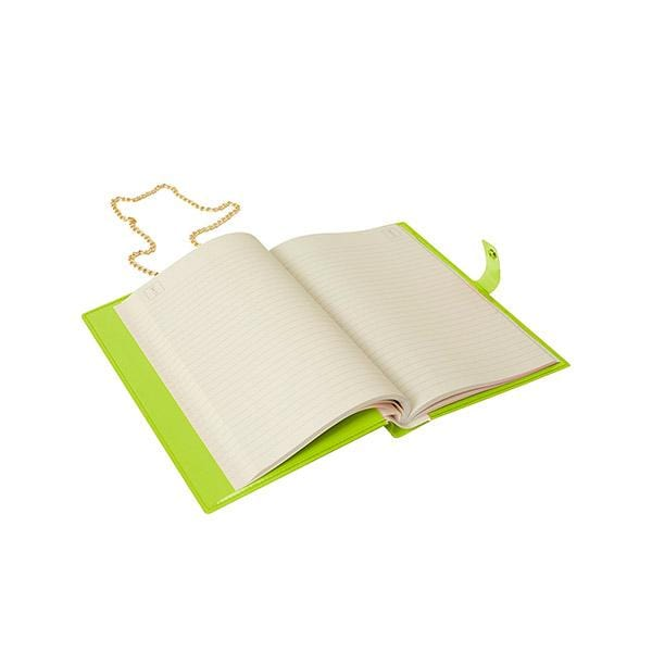 why note!? branded fun note bag series neon green notebook bag with days cards is open