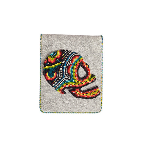 Felt grey tablet case with skull embroidery