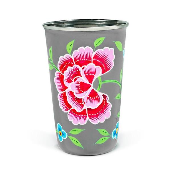 Decorative tableware hand painted grey enamel tumbler with red carnation painted