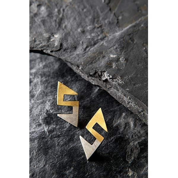 Hook Figurine Gold Plated Silver Earrings