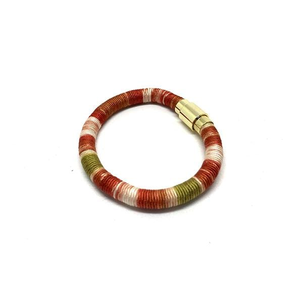 Hand Dye Silk Bracelet | Madder Dyed | Red Stripe