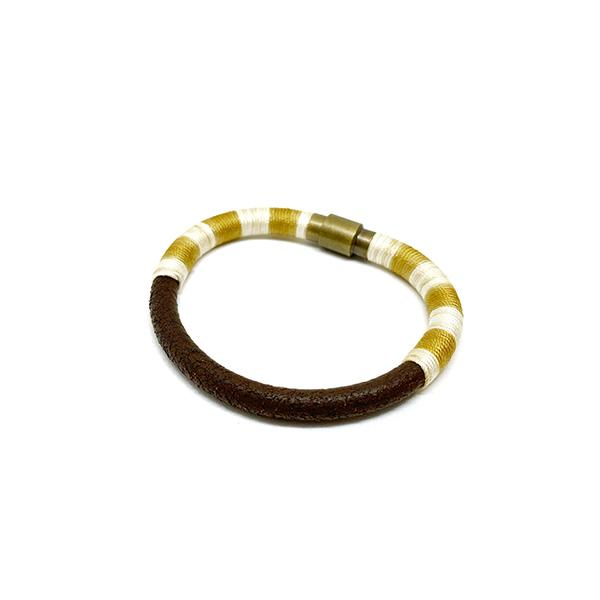 Bitter Sweet Bracelet | Onion Peel Dyed Silk and Leather | Yellow
