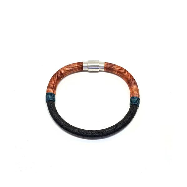 Bitter Sweet Bracelet | Madder Dyed Silk and Leather | Orange