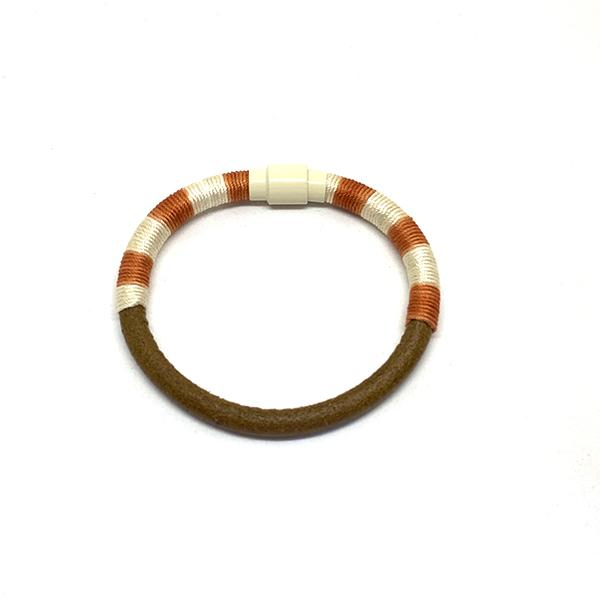 Bitter Sweet Bracelet | Madder Dyed Silk and Leather | White Accessories Nott