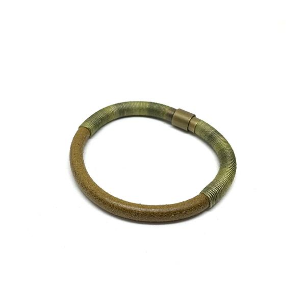 Bitter Sweet Bracelet | Sage Dyed Silk and Leather | Khaki