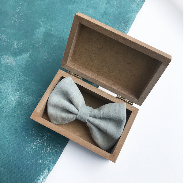 Darwin's botanicals branded hand dyed linen blue colour bow tie at hippist