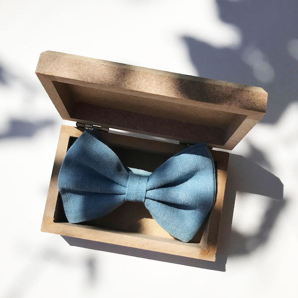 Turquoise Blue hand-dyed linen bow tie