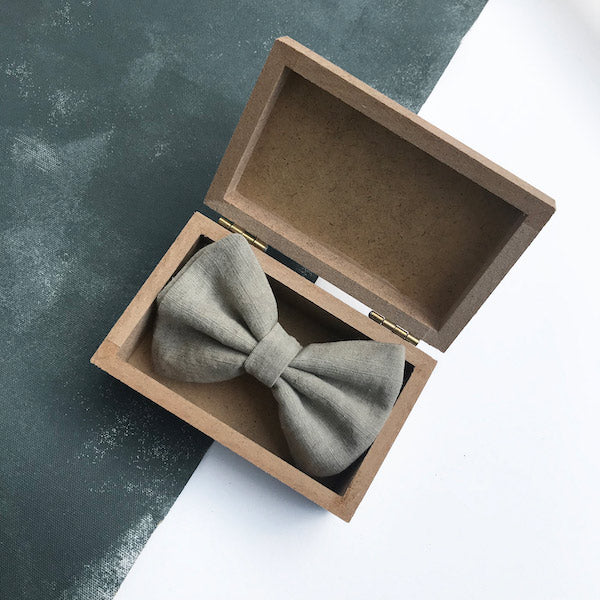 Darwin's botanicals branded hand dyed linen fume colour bow tie at hippist
