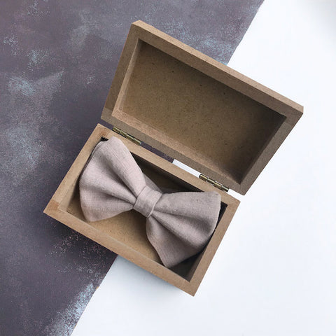 Hand Dyed Linen Bow Tie | Grey Blue