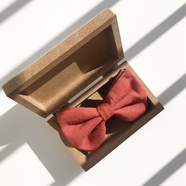 Darwin's botanicals branded hand dyed linen vermilion colour bow tie at hippist