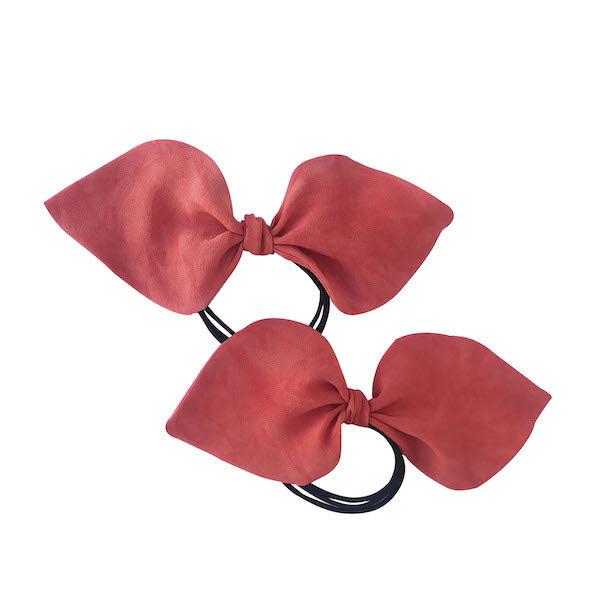 Luxury crepe vermilion colour 100% silk ponytail holder