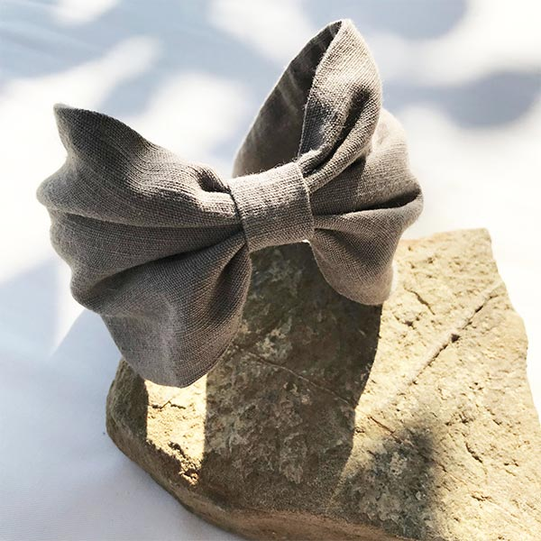 Hand Dyed Linen Headband | Grey