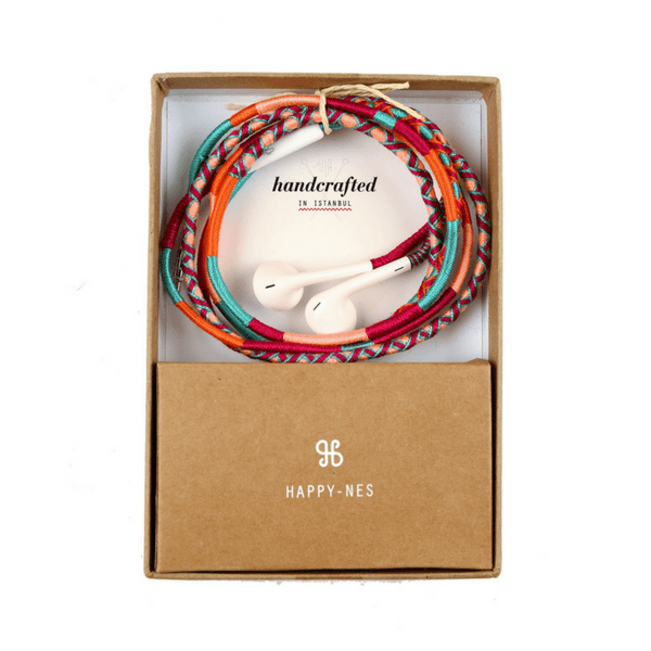 Happynes branded multicolored handmade Apple iPhone 6 Earphones | Marshmello - hippist.co.uk