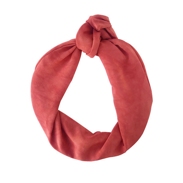 Hand-dyed crepe silk red coloured headband