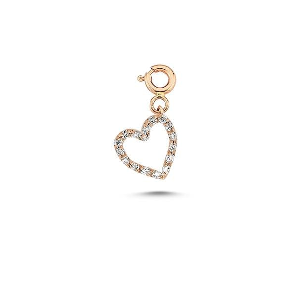 Initials Full Diamond Charm | Heart