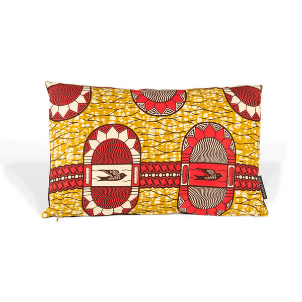 3rd culture yellow and red handmade cushion cover