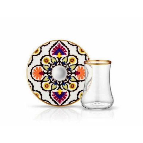 Dervish Ebru Glass and Saucer | White & Shiny Gold | Set of 6