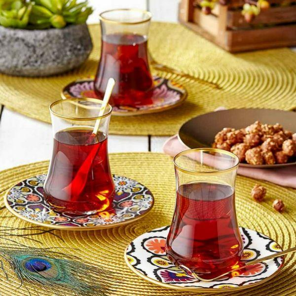 Dervish Terra Glass and Saucer | Set of 6