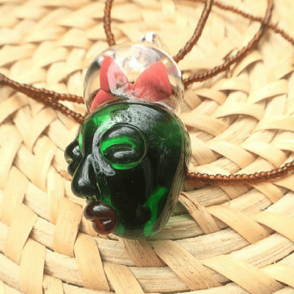 Green Shaman Borosilicate Glass Pendant - hippist.co.uk