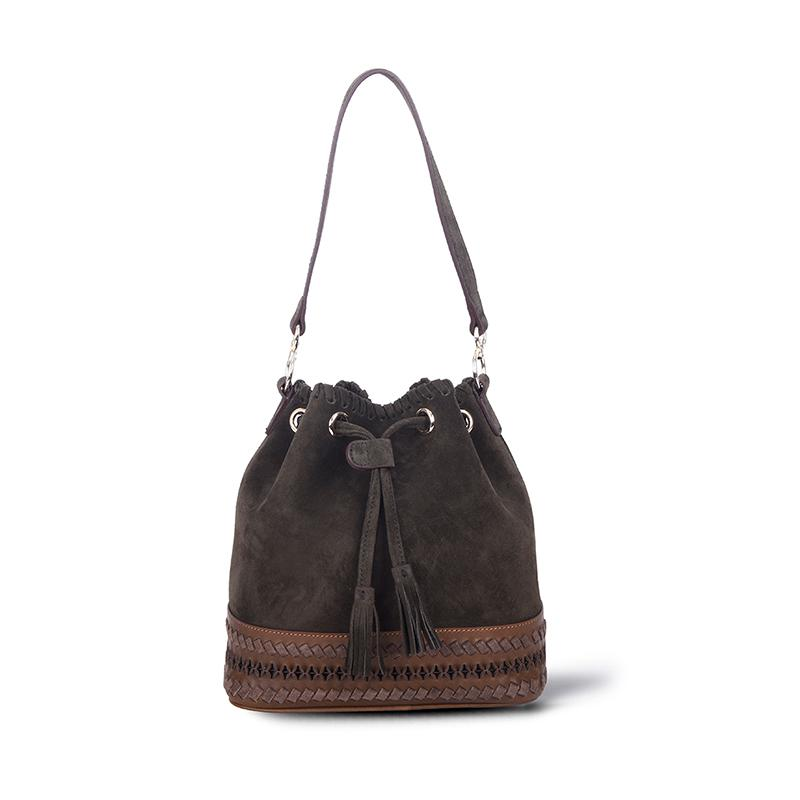 Bestie Bucket Bag | Green Suede Bags Rossea