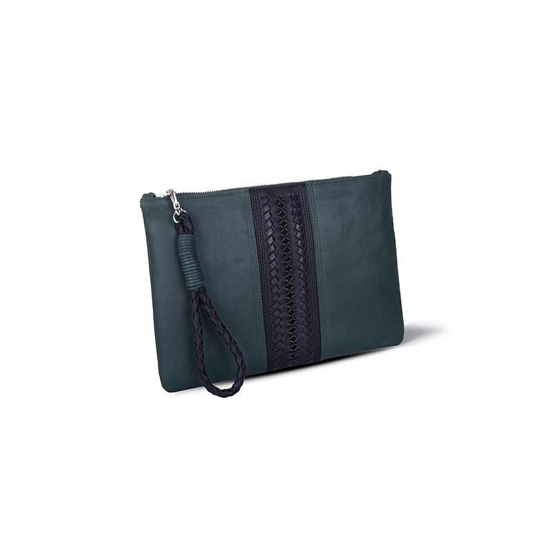 Pita Signature Clutch | Green Leather