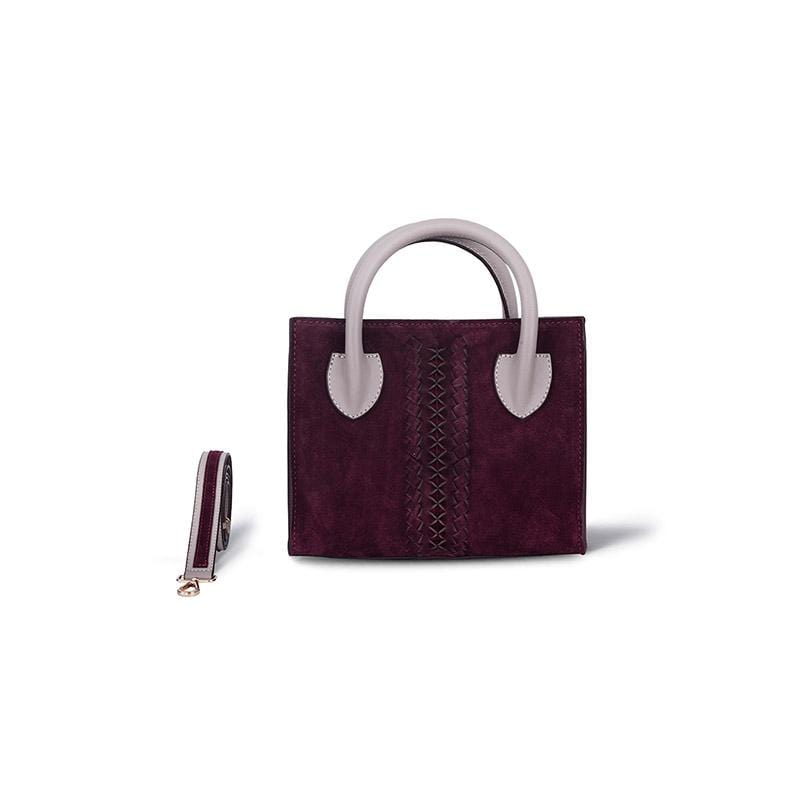 Renie Mini Tote | Red Wine Suede