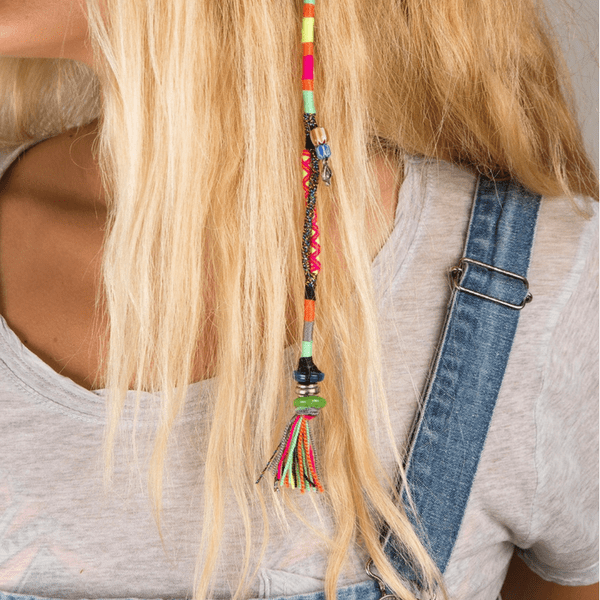 girl with blonde hair wearing colorful Hair Wrap | Boho - hippist.co.uk