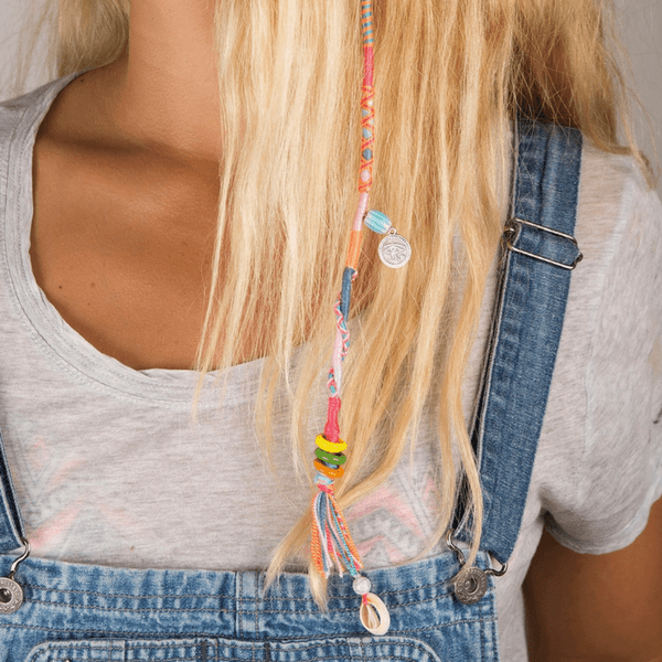 blond hair girl wearing colorful  Hair Wrap | Flames - hippist.co.uk