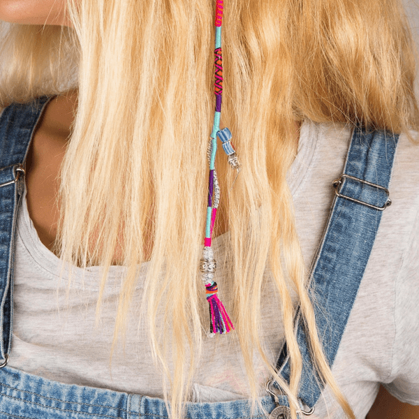 blond hair girl wearing colorful Hair Wrap | Snap - hippist.co.uk