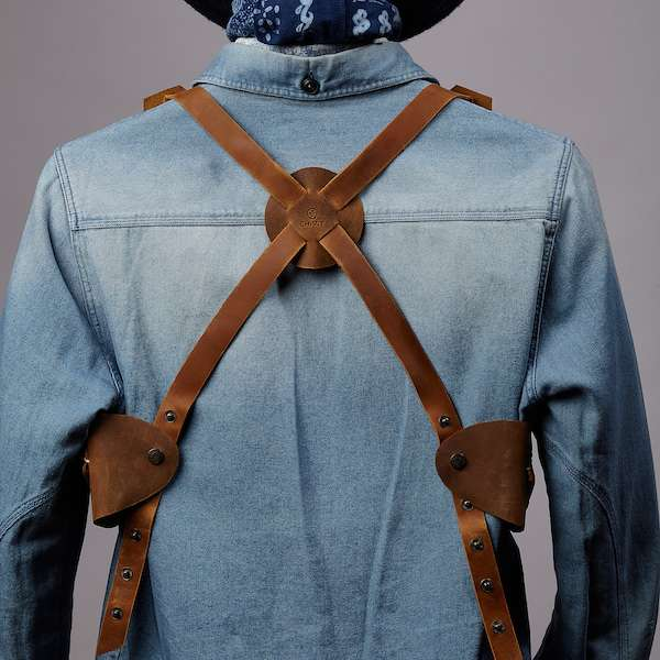denim shirt combined with leather double holster