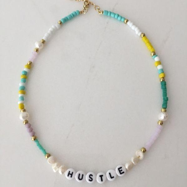 Hustle natural pearl and colourful beaded choker necklace
