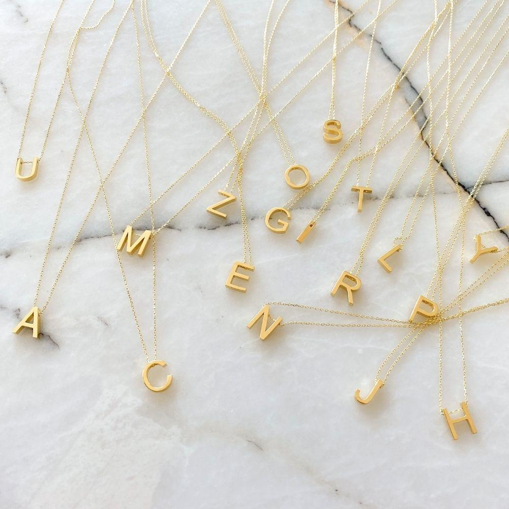 Alphabet Silver Chain Necklace | V