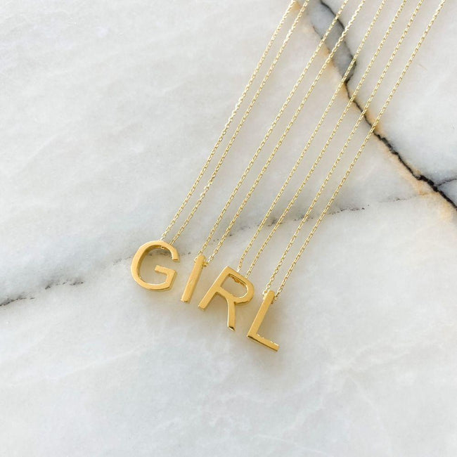 Alphabet Silver Chain Necklace | R
