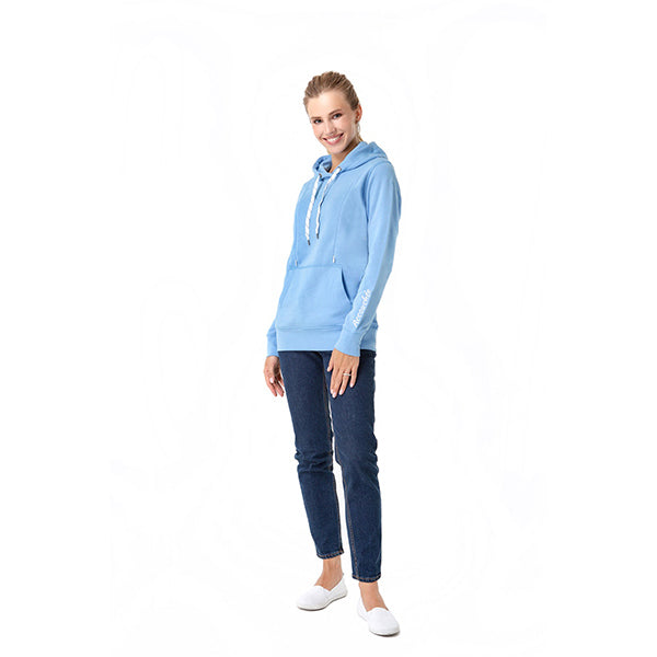 A woman with cotton blue nursing sweatshirt