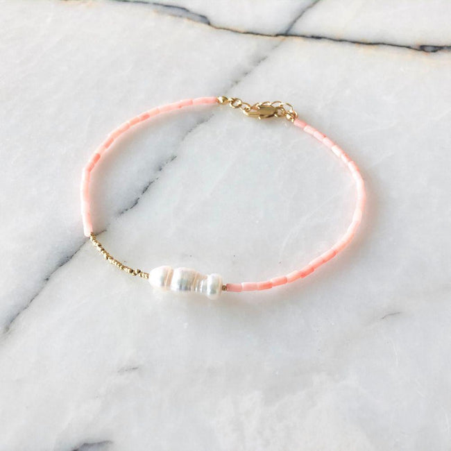 Jane Natural Pearl Coral Anklet