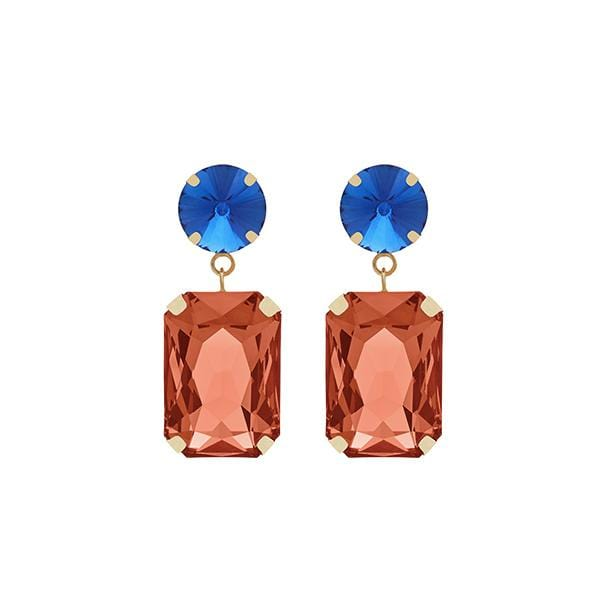 Jerry Crystal Earrings | Midnight Blue & Peach