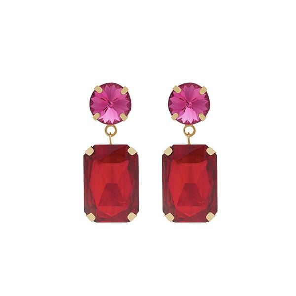 Jerry Crystal Earrings | Shocking Pink & Crimson