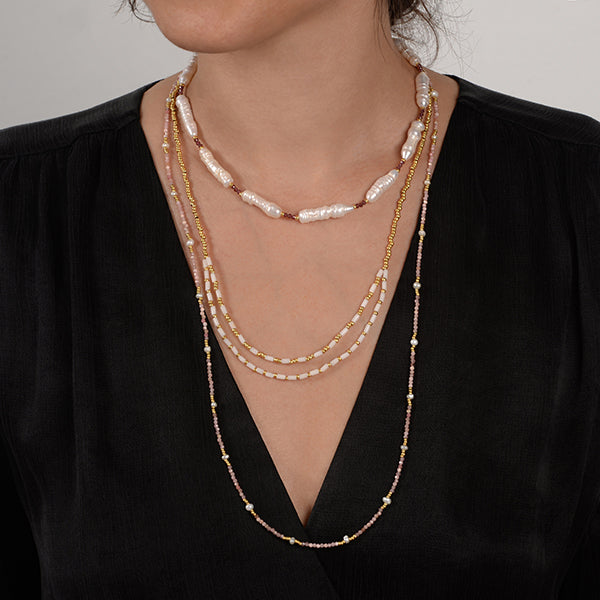 Jessica Charlotte Electra natural stone natural pearl necklace