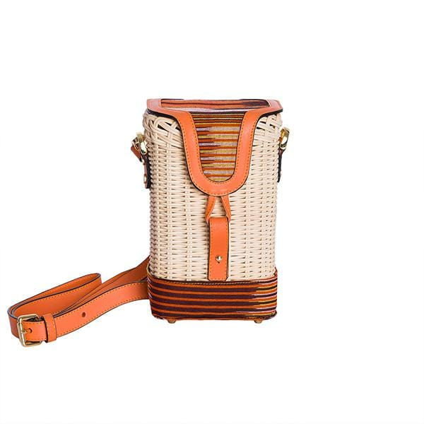 Hand Wickered Basket Shoulder Bag | Orange