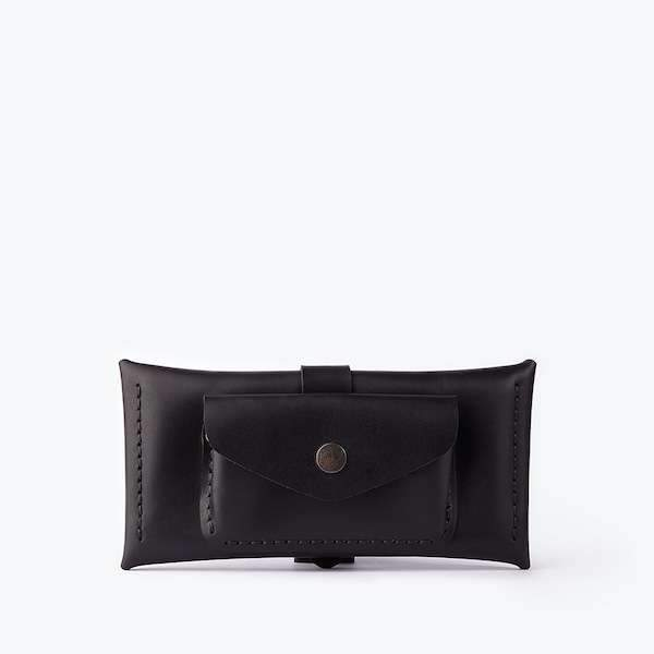 leather black colour case with extra pocket