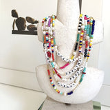 Natural pearl and colourful beaded choker necklaces