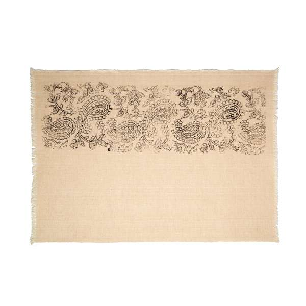 Handmade embroidered linen hand weaving placemat