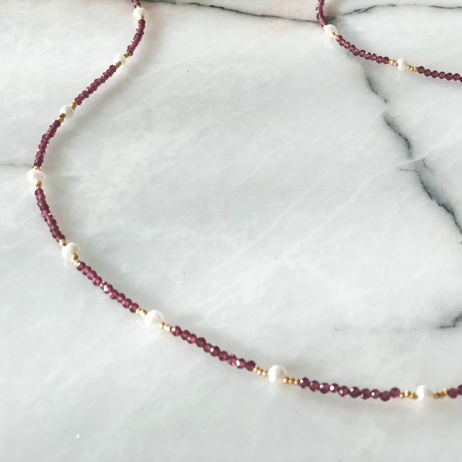 Purple Natural Pearl & Garnet Necklace
