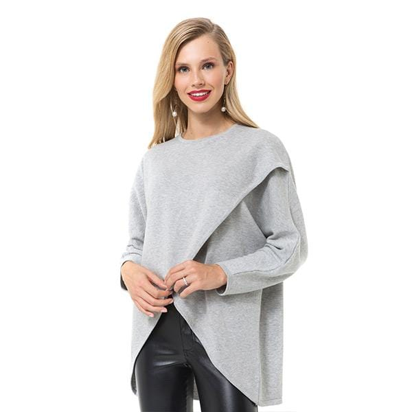 A woman with Accouchée branded grey knitwear nursing sweatshirt