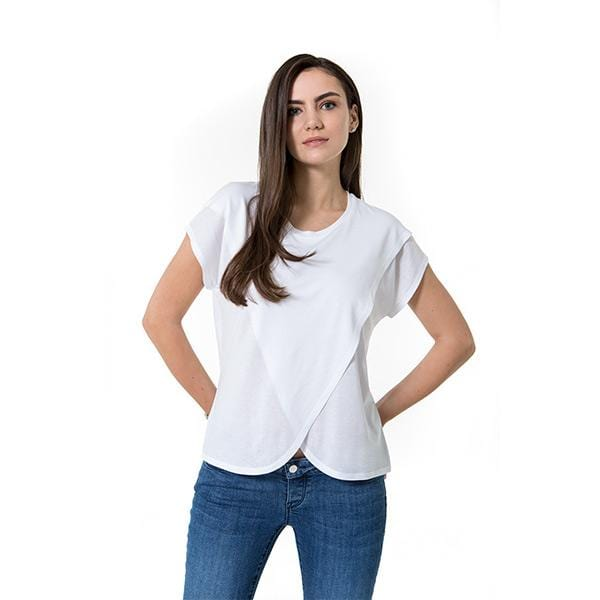 A woman with Accouchée branded white nursing blouse