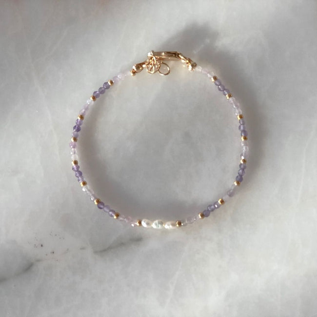 Lily Natural Pearl & Amethyst Bracelet