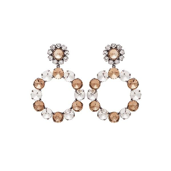 Loulou Crystal Earrings | Champagne