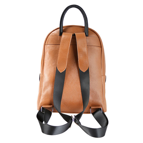 premium leather taupe colour backpack's back