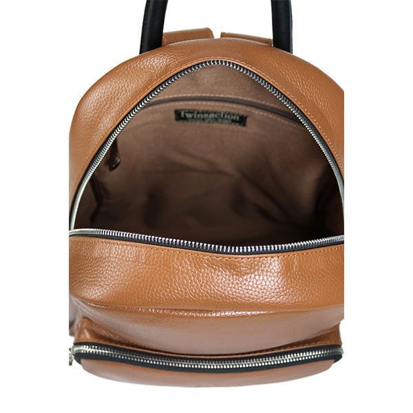 premium leather taupe colour backpack's zipper detail