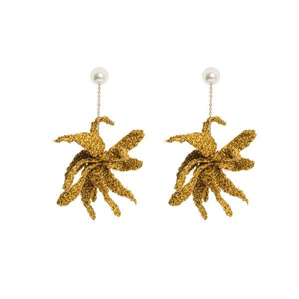 ponponiere branded hand-knitted metallic macrame detailed claw earrings